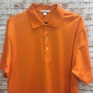 Peter Millar Golf Polo Solid Orange Outdoor Shirt